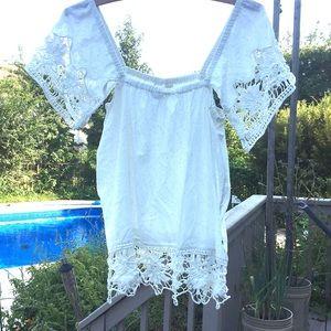 ROXY Delicate Lace & Cotton top